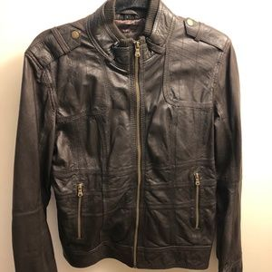 Brown Leather Motorcycle Biker Jacket by Guess